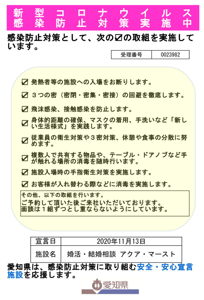 愛知県 新型コロナウイルス感染防止対策実施中